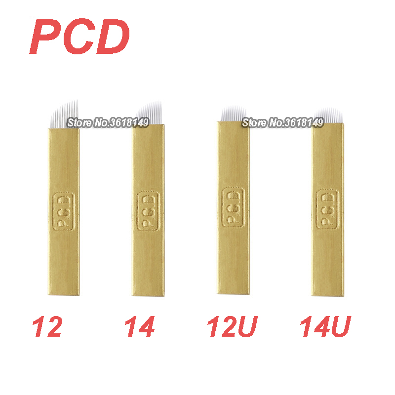 50Pcs PCD Microblading Lamina 12 12U 14 14U For Permanent Makeup Eyebrow Hard Tattoo Blades For Manual Tattoo Pen 3D Embroidery in Tattoo Needles from Beauty Health
