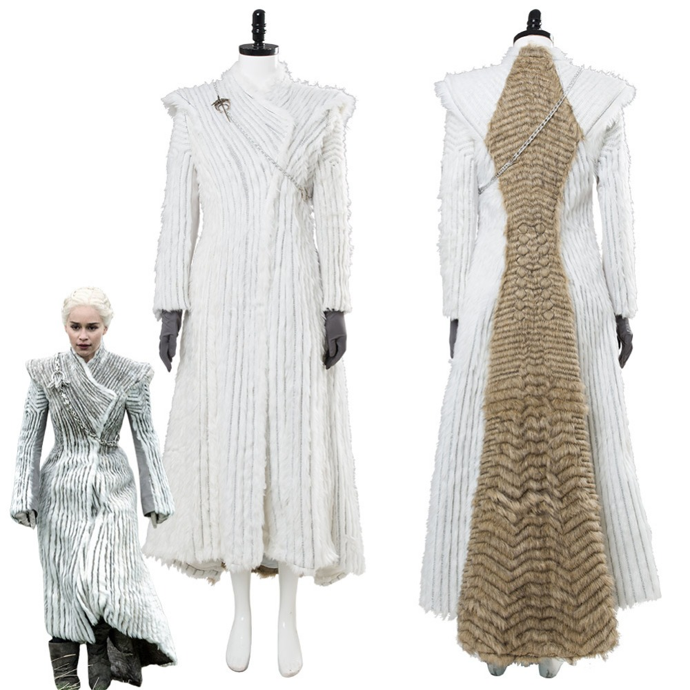Game of Thrones Season 7 Cosplay E6 Daenerys Targaryen Costume Dany Winter Outfit Dragonstone Snow Dress Halloween Costumes