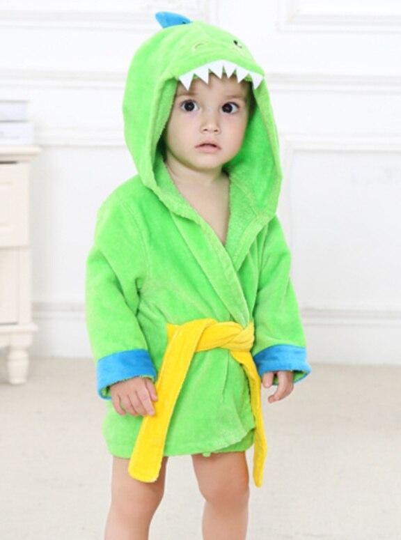 Материал, обрезное бархатистое полотенце, детское полотенце с капюшоном, хлопковый Халат для мальчиков и девочек 0-2 лет - Цвет: Green dinosaur