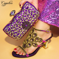Capputine New Arrival Nigerian Shoes And Bag Set Italian Ladies Decorated With Rhinestone Slipper Shoes And Purse Set TX 25