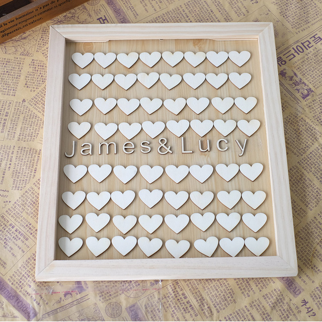 Unique Personalised Wedding Guest Book Alternative Wooden Heart Custom Name Guestbook With Fashion