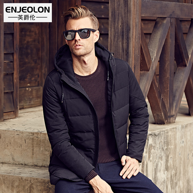 Enjeolon brand long thicken winter down jacket men black clothing White duck down coat male top quality men down parkas YRF904