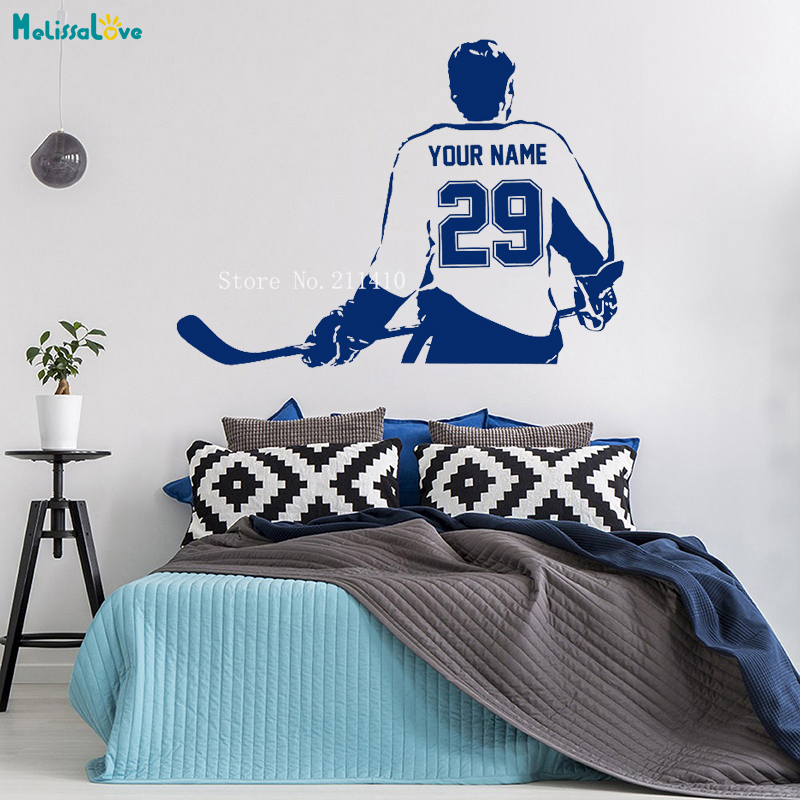 Sports Choose Your Name and Number Personalized Custom Hockey Player Wall Decal Vinyl Sticker Home Decoration Boy Gifts YT994 2