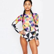 2017 Print Floral One Piece Swimsuit Long Sleeve Swimwear Women Bathing Suit Retro Swimsuit Vintage One-piece Surfing Swim Suits