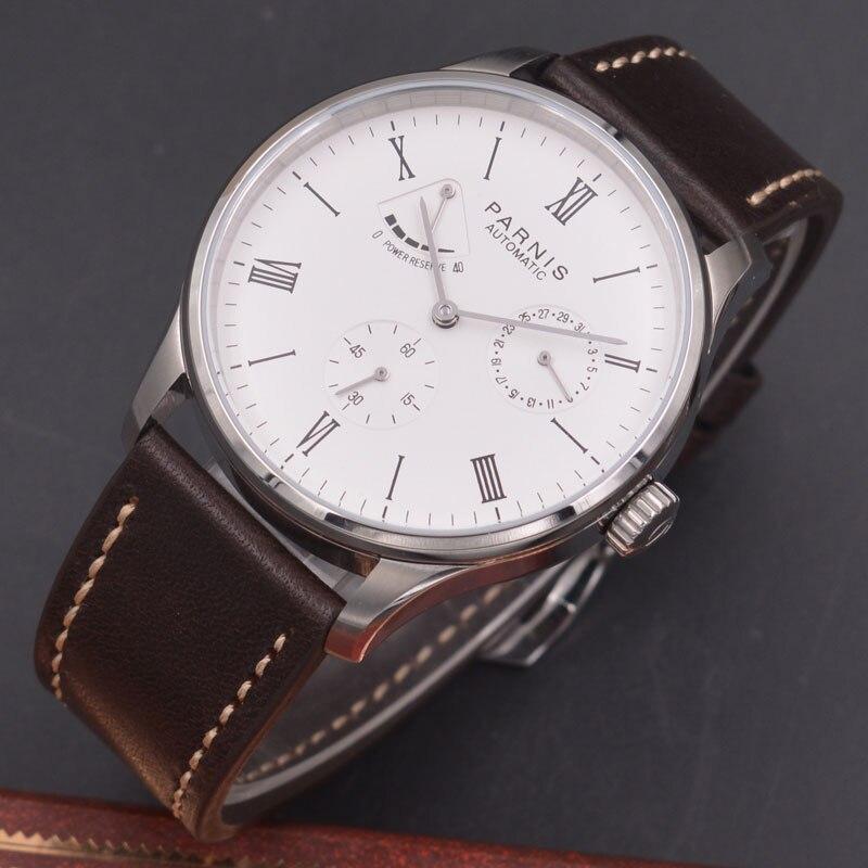 цена Parnis 42mm watch white dial calendar Seagull Movement parnis Automatic mechanical men watch Power Reserve watch PN-603 онлайн в 2017 году