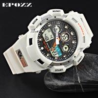 Men watches quartz watches waterproof sport diving Dual movement EPOZZ 3001 Fashion military digital LED luminous male clock