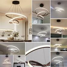 Moderno led lustre para sala de jantar sala estar branco/preto/cor café lampadario moderno lustre AC85-265V