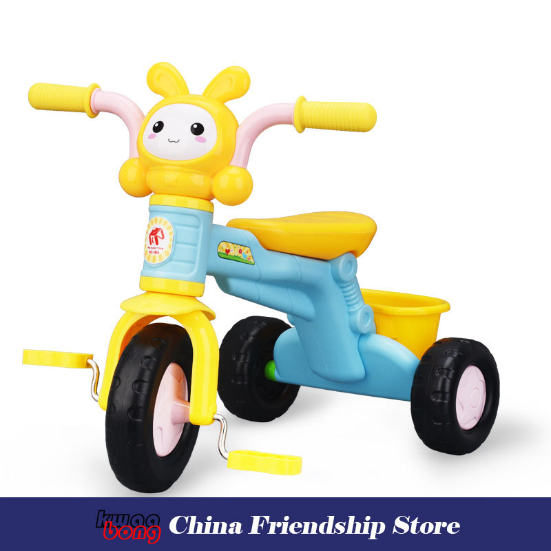 Triciclo infantil bébé voiture tricycle vélo multifonction avec musique enfants bande dessinée musique pédale tricycle vélo