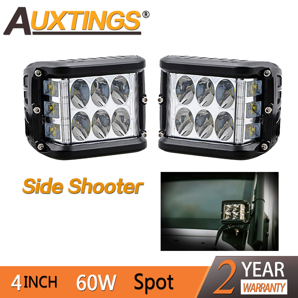 Auxtings Side Shooter 12leds Led Cube 60W Led Work Light 12v 24v Off Road Led Light Driving Light Super Bright for SUV Truck Car цена и фото