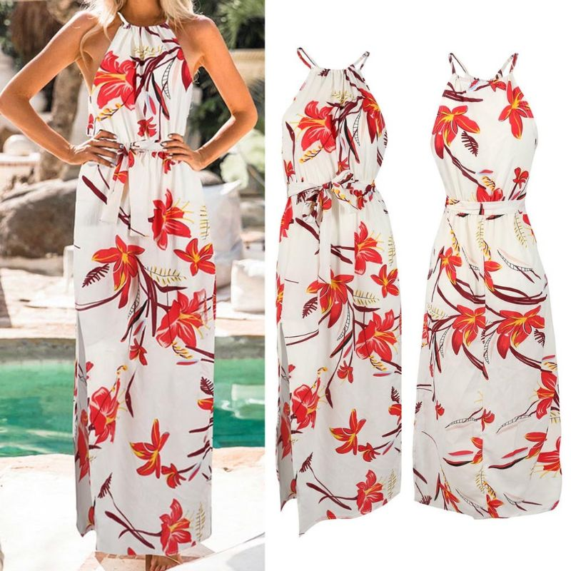 Женское Макси-платье женское летнее сексуальное в богемном стиле, с цветами, Длинная пляжная вечеринка, модный тонкий раздельный сарафан вы...