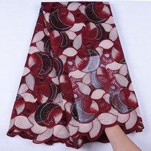 Tela de encaje de seda de leche africano tela de encaje de seda de leche francesa de alta calidad con dos piedras de colores para vestido de fiesta nigeriano F1639