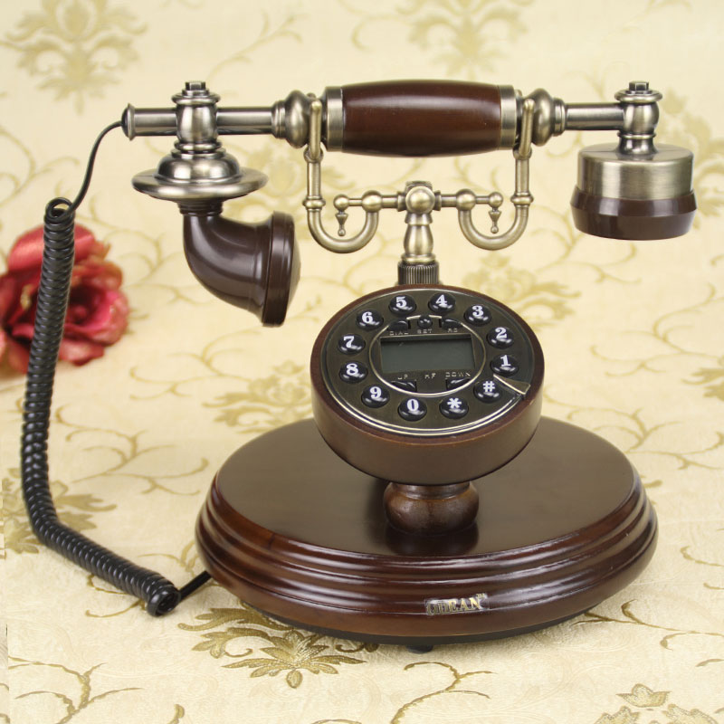 European craft Vintage Antique solid wood antique antique rotary dial dial telephone rustic phone backlit household