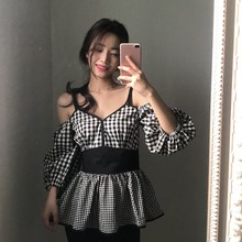 Women Plaid Korean Style Blouses Puff Sleeve Sexy Off Shoulder Shirts Vintage V-Neck Blouse Tops