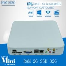 Мини-ПК Celeron 1037U Безвентиляторный Промышленный КОМПЬЮТЕР 2 Г RAM 32 Г SSD Хранения Windows XP/7/8 и Linux OS поддерживается