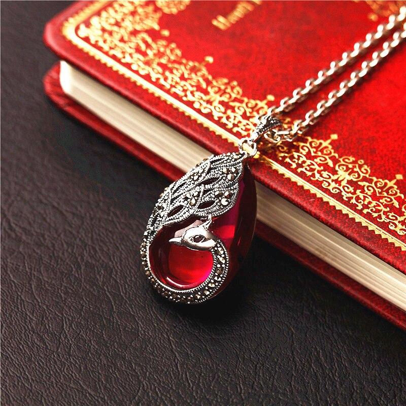925 sterling argent femmes bijoux rouge rétro paon pendentif rouge corindon pierres semi-précieuses bohème fleur petite amie cadeau