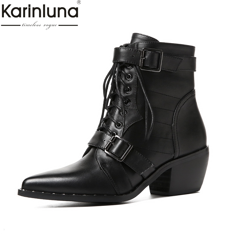 KarinLuna 2018 Brand New Cow Leather Large Size 34 42 Hot Sale Chunky Heels Boots Women
