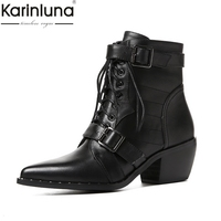 KarinLuna 2018 Brand New Cow Leather Large Size 34 42 Hot Sale Chunky Heels Boots Women Shoes Western Woman Ankle Boots