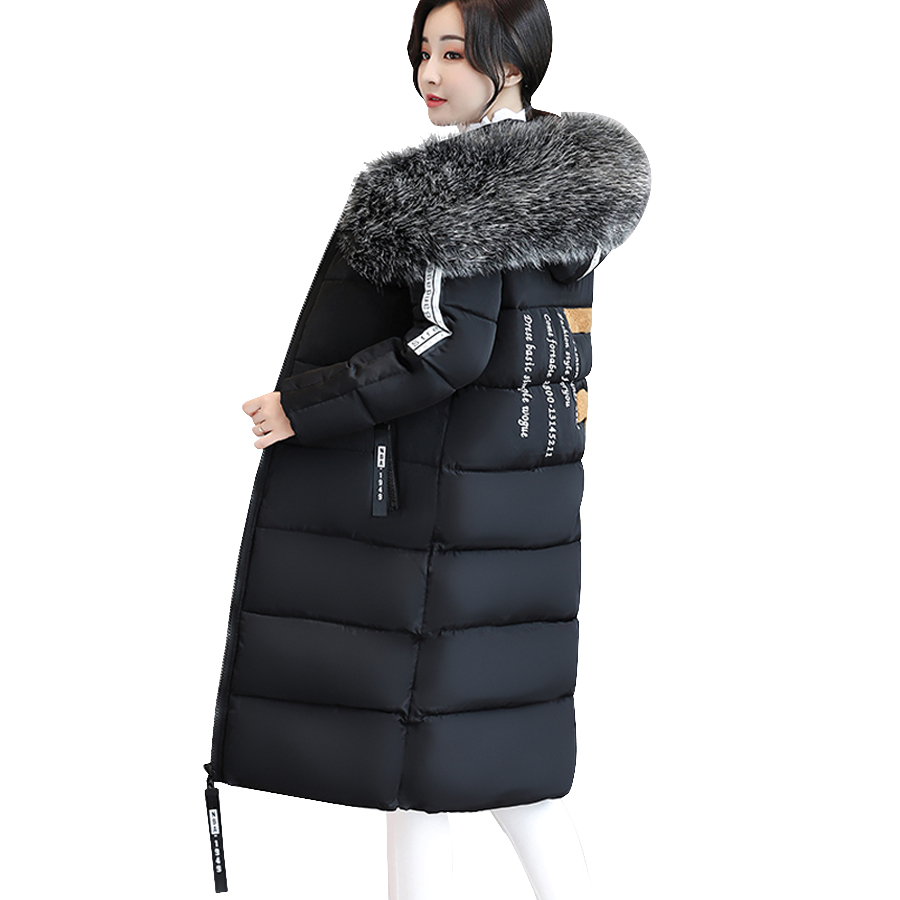 MANDADI Winter jacket women 2017 Large Fur collar Cotton Padded Winter coat women hooded Female thicke warm Jacket Plus size 6XL women winter coat jacket 2017 hooded fur collar plus size warm down cotton coat thicke solid color cotton outerwear parka wa892