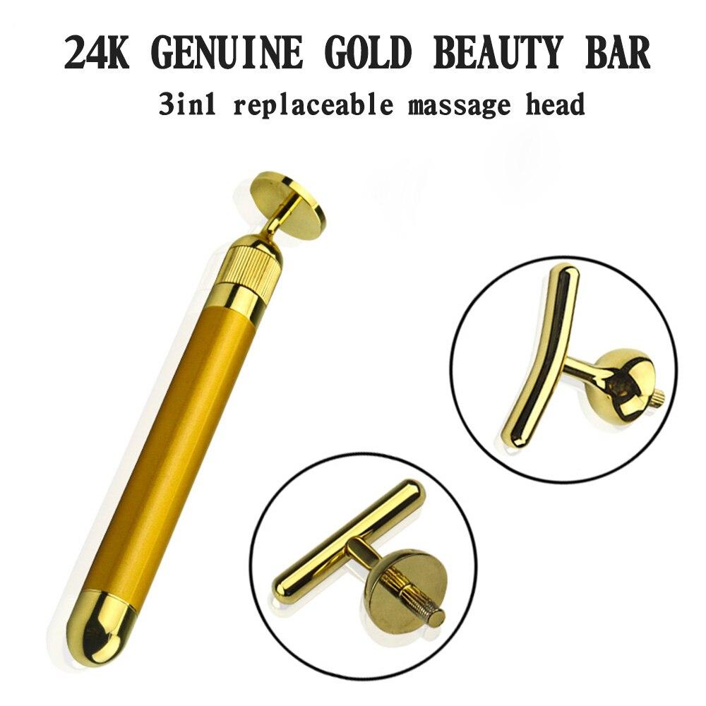 24k gold beauty roller 24k gold beauty massager 24k golden pulse facial massager for face beauty/ face lift