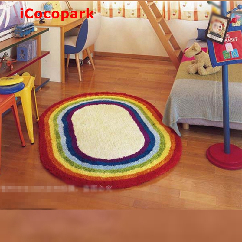 Beautiful rainbow rug Oval Imitation wool carpet Colorful Carpet Non-Slip mats Living room rug mat Bedroom  bathroom  doormatBeautiful rainbow rug Oval Imitation wool carpet Colorful Carpet Non-Slip mats Living room rug mat Bedroom  bathroom  doormat