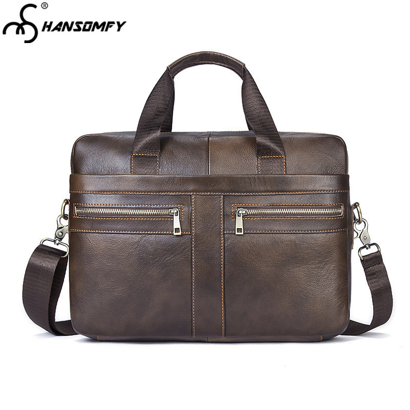 2018 Genuine Leather Men Business Briefcase First Layer Cowhide Men's 14