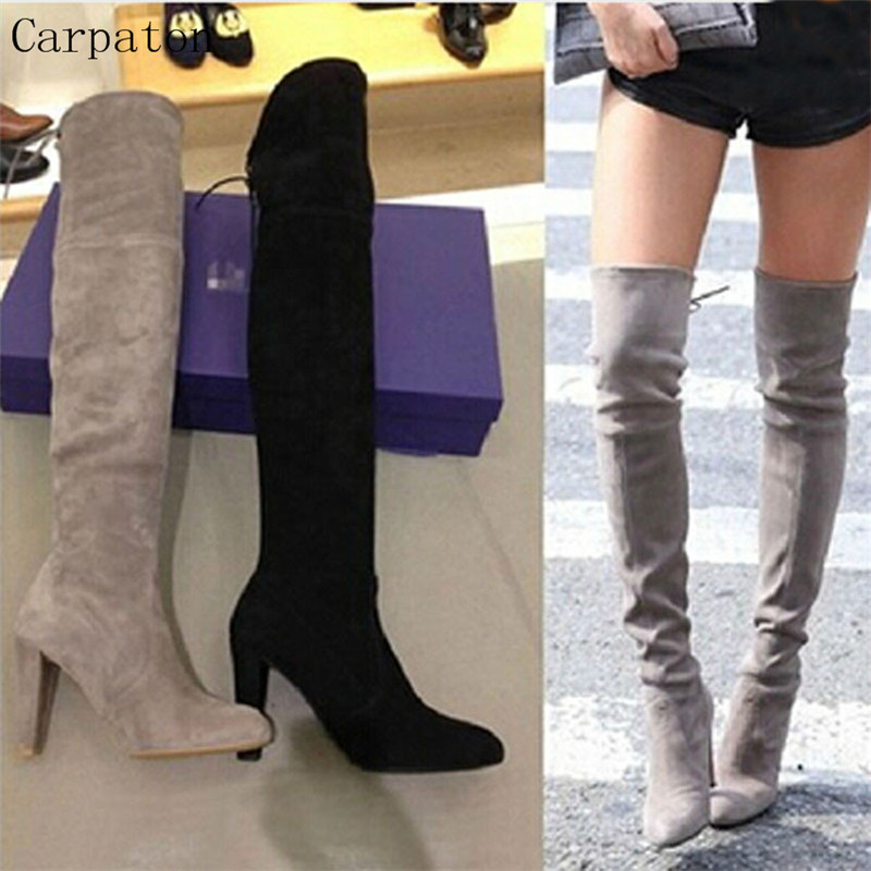 Hot Sell Fashion Suede Leather Over The Knee Lace Up Thigh High Boots Square Heel Stretch Motorcycle Boots Sexy Women Long Boots