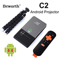 Android Mini Inteligente H.265 RK3128 Quad Core Full HD DLP LED Proyector proyectores Es Compatible Con 5G Wifi BT 1G/8G 1/16G con Trípode C2