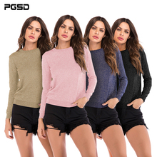 PGSD Autumn Winter Simple Pure color fashion Women Clothes Long sleeved O-collar Knitted T-shirt female pullover Tops Tee shirt