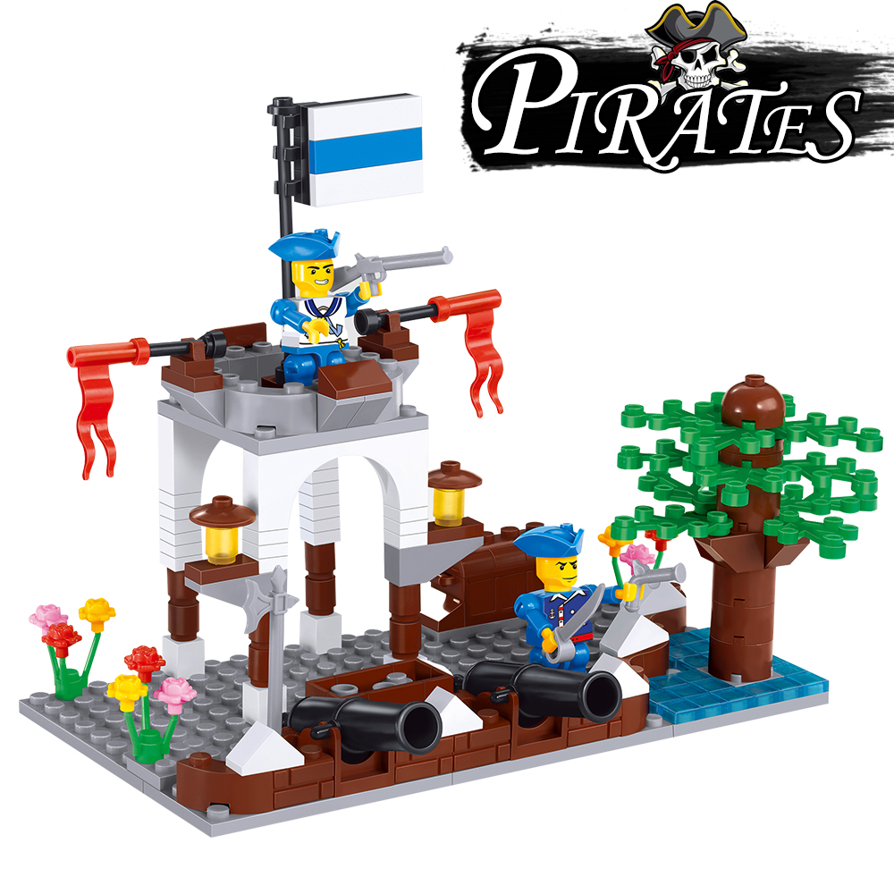 202Pcs Enlighten Pirates of Fierce Cannon Volley Strike Back Pirates Blocks Bricks Sets Adventure Toys for Children
