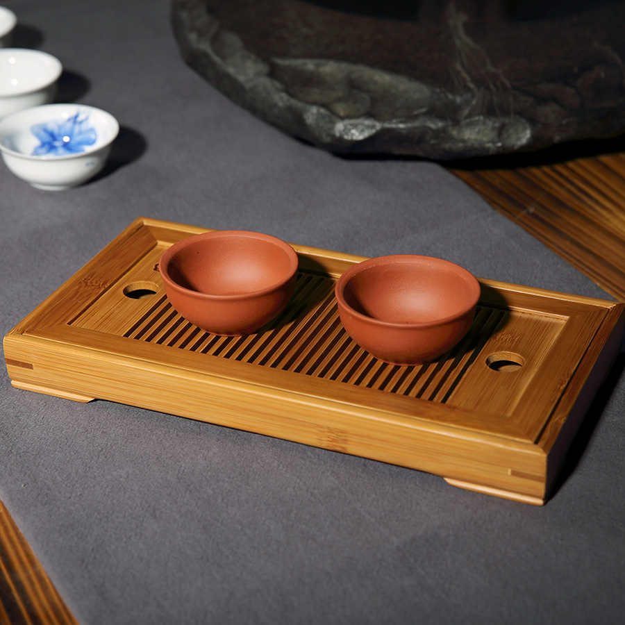 Teasaga Natural Bamboo Tea Tray Small Kung Fu Tea Ceremony Table with Water Pallet