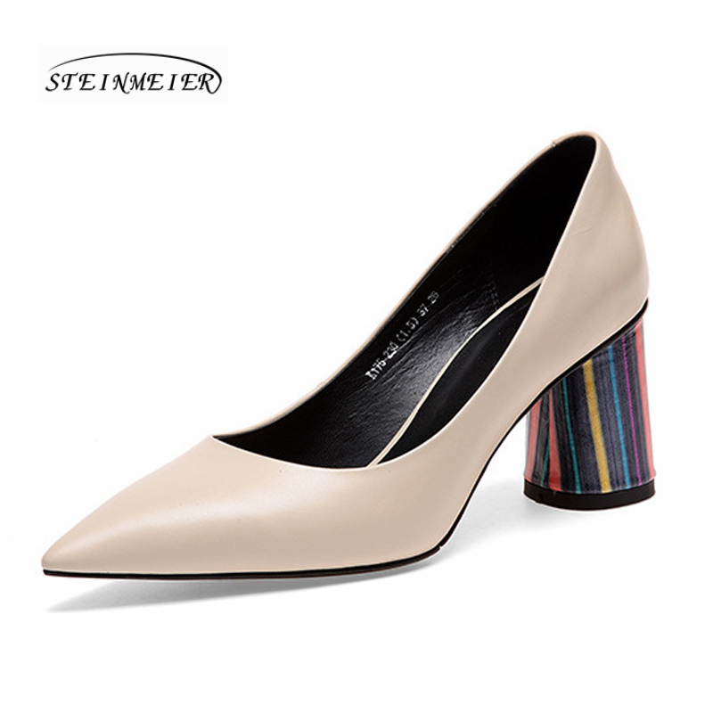 Women summer high heels shoes point toe sexy genuine leather spring pumps slipon heels shoes black thick heel woman shoes 2019Women summer high heels shoes point toe sexy genuine leather spring pumps slipon heels shoes black thick heel woman shoes 2019