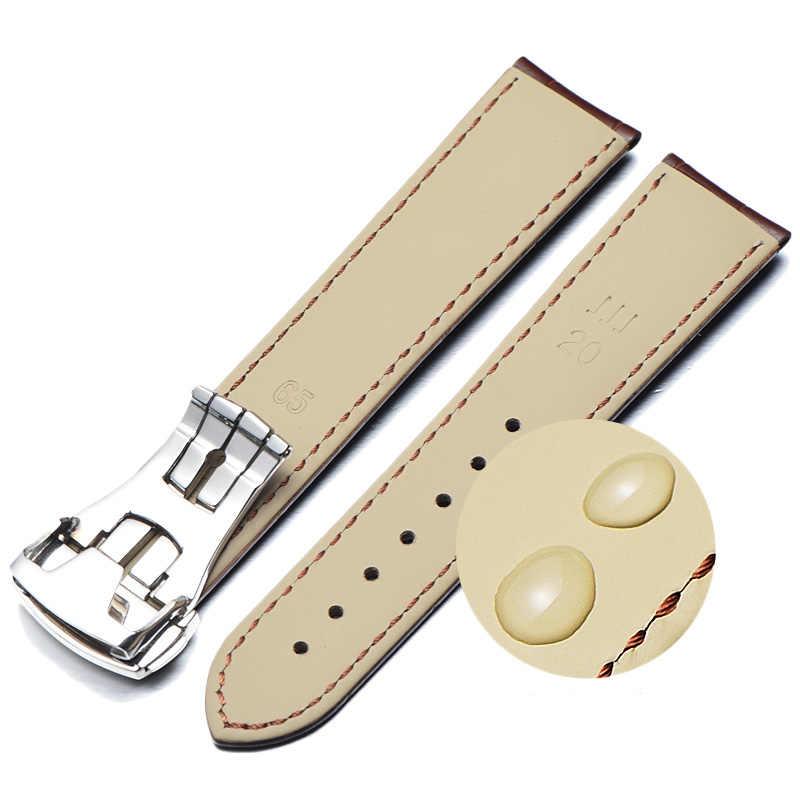Correas De reloj De piel De becerro italiano para reloj Omega Seamaster Speedmaster De Ville Band 19mm 20mm 21mm reloj Correa hombres pulsera