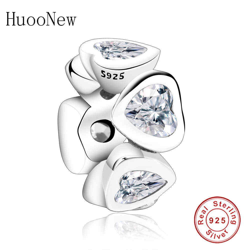 dc575771c99ca Abstract Zircon Clear CZ Spacer Rings Bead DIY Fit Original Pandora Charms  2019 Winter Bracelet 925 Sterling Silver Jewelry Gift