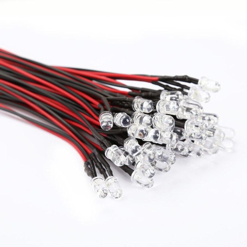 50шт/комплект 5мм 12В DC автомобиля автомобиля СИД длинные яркие лампы накаливания с проводом техническое происходить докорректировка светильника света прокладки