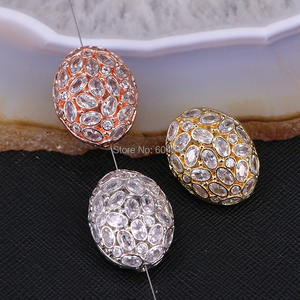 Image 2 - 5PCS ZYZ183 9817 Micro Pave CZ Oval Shape beads For Bracelet Necklace Jewelry Making Spacer Connector Metal Beads Findings