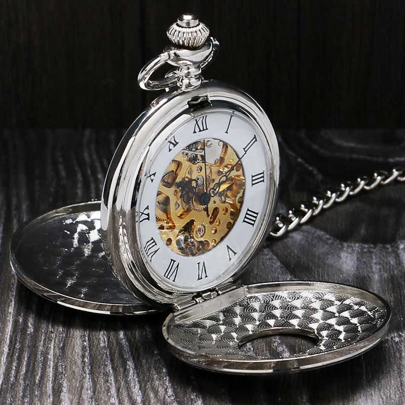 Mechanical Hand Wind Pocket Watch Luxury Double Open Face Roman Numbers Silver Clock With Fob Chain Relogio De Bolso P803C