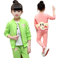 Baby Girl Clothing Sets kids 3PCS Coat+ T shirt + Pants Children Cute Princess Elephant Print Baby Girl Outfits Kids Suits