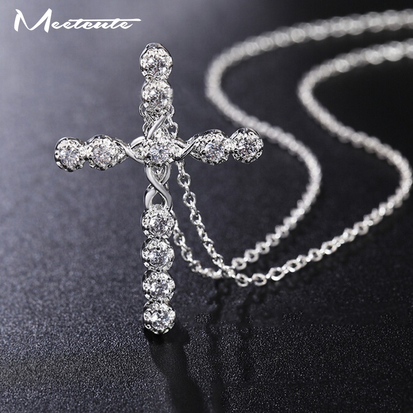 Meetcute Free Fast and Furious Statement Long Necklace Pendants For Man Women Silver Plated Jewelry Rhinestone Luxury Cross