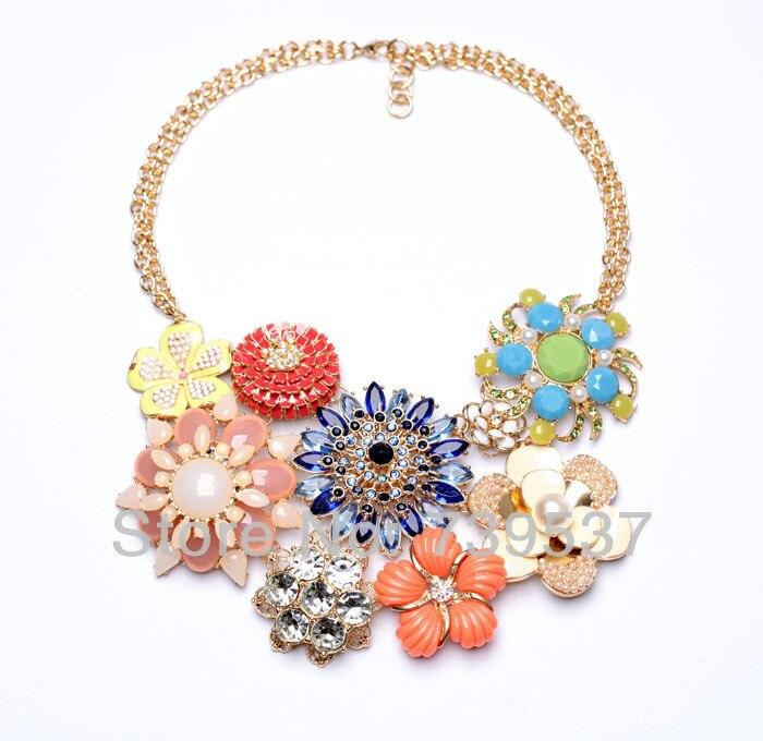 Summer Pop Flower Large Pendant Double Gold Color Chain Necklace