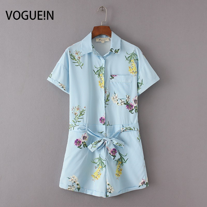 VOGUE!N New Womens Ladies Blue Striped Floral Print Short Sleeve Bow Tie Belt Playsuit Jumpsuit