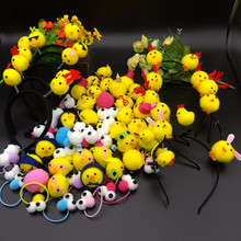 2017 New Lovely Plush Yellow Chicken Headband Hair Clips Big Eyes Hair Band For Women Children Girls Headwear Hair Decoration