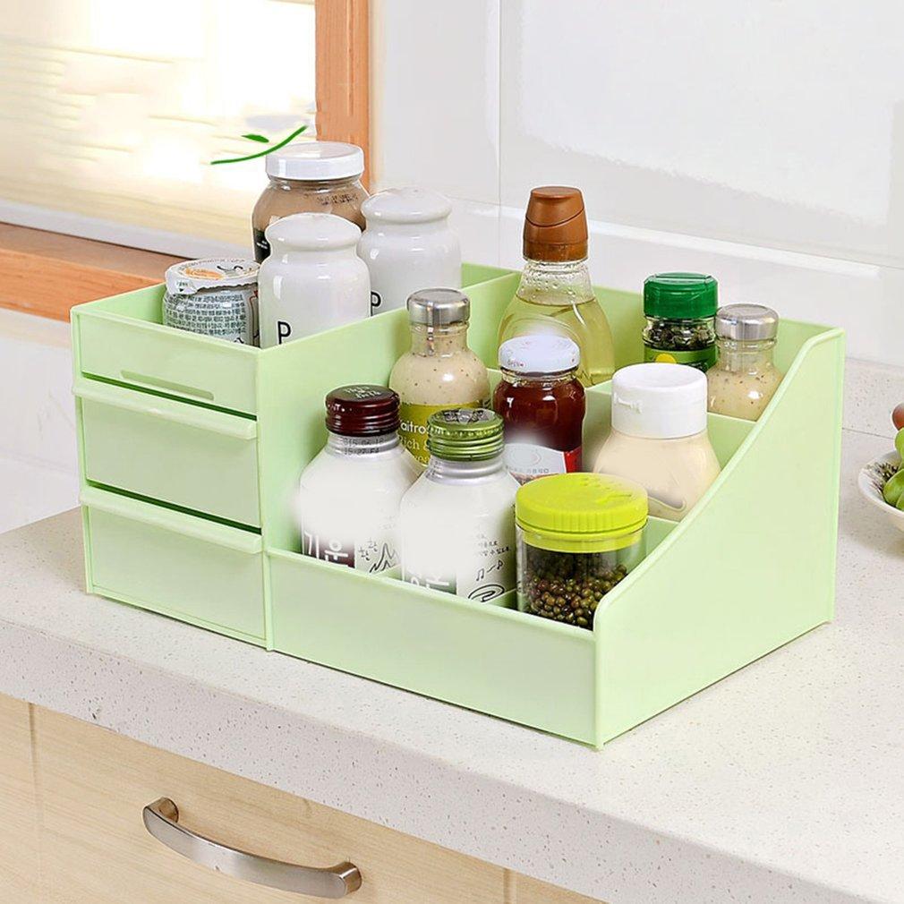 Boîte de rangement cosmétique en plastique boîtes de rangement de bureau multifonction organisateurs de maquillage tiroir organisateur de stockage de papeterie vert
