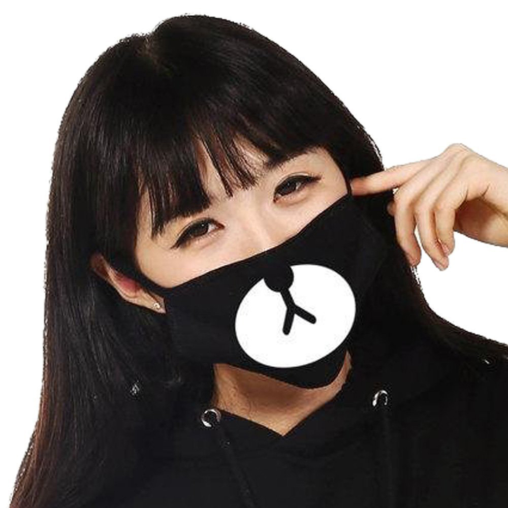 Cute Black Anti-Dust Cotton Bear Mouth Mask Kpop For Style Lucky Bear Black Mouth Mask