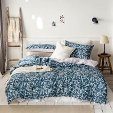 2019 Korean Floral Dark Blue Bed Cover Duvet Set Cotton Bedding Bedlinens Twin Queen King Flat Sheet Fitted
