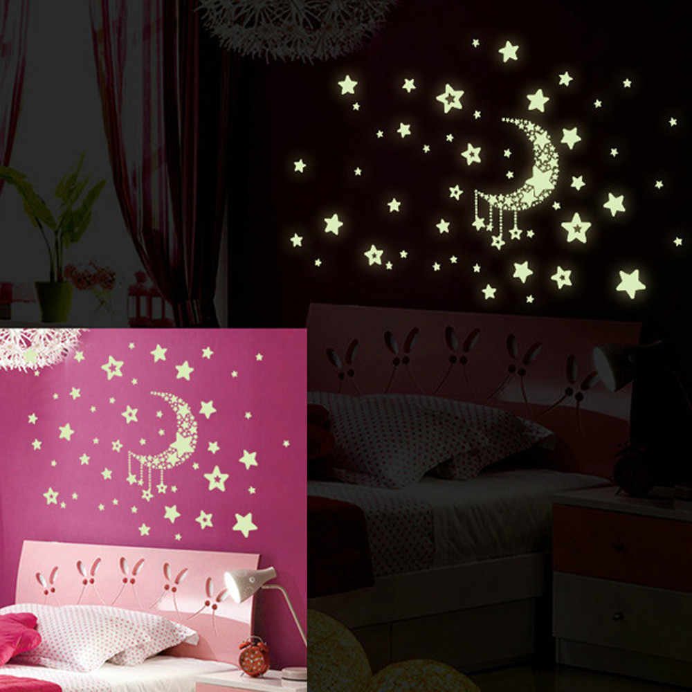 Set Glow in the Dark Fosforescente Moon Star DIY Removable Starry Wall Stickers Night Luminous Phosphorescent kids Bedroom Decor