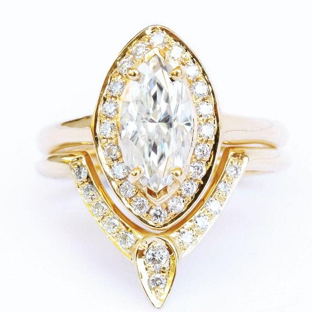 EDI Маркиза Форме Муассанит Алмаз Свадебные Наборы Кольца Группа 14 К Твердого Желтого Золота Рамка Обручальные Кольца Для Женщин Ювелирные Изделия