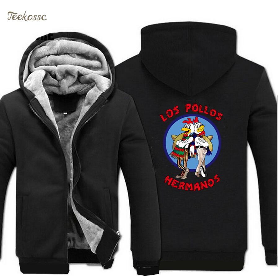 Los Pollos Hermanos Breaking Bad Sweatshirts Hoodie Men 2018 Winter Warm Mens Hoodies Chicken Brothers Coat Sportwear Jacket 5XL