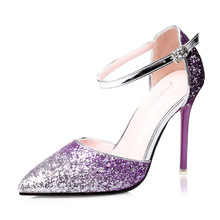 Women Shoes Pumps Handmade Female Noble Sequined  Cloth Wedding Shoes Sexy Fashion Women's High Heels Dress Shoes Woman