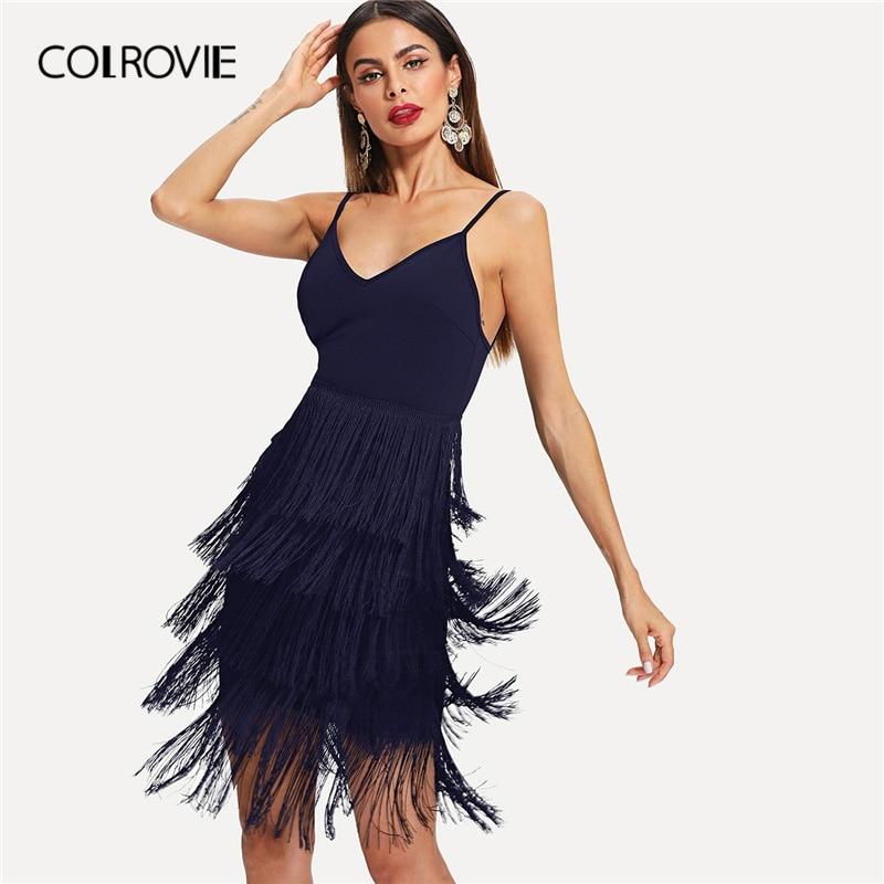 27cf21e9d4cdb82 COLROVIE темно Спагетти Ремень Леопардовый слоистых Fringe Bodycon Cami  сексуальное платье для женщин Лето 2019 г