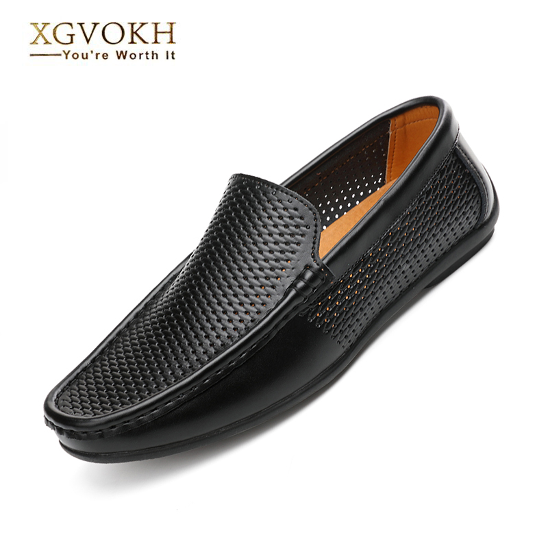 Breathable loafers Men Genuine Leather Driving Moccasins shoes men Casual Summer hollow flats solid Slip On Loafers  new men leather driving moccasins shoes british hollow men s slip on loafers summer flats men shoes casual comfy breathable